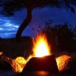 Feuerstelle zum Sonnenuntergang